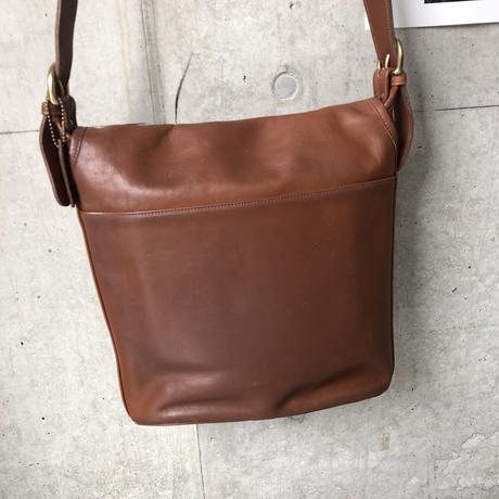 Old COACH Grab Leather Flap Shoulder Bag Brown