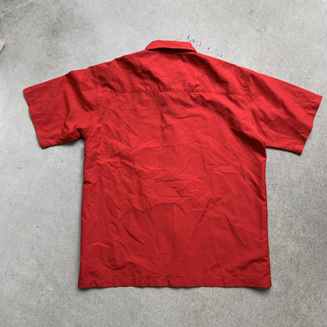 90s dragon embroidery shirt S/S RED