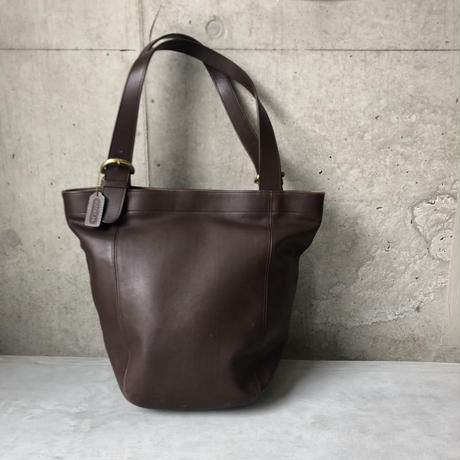 Old Coach Grab Leather Tote Bag Brown