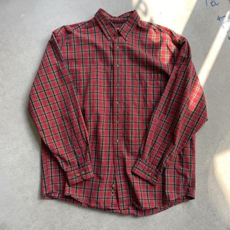 90s eddie bauer tartan check shirt RED