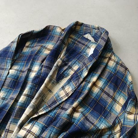 70s Royal Crest Check Cotton Gown Coat