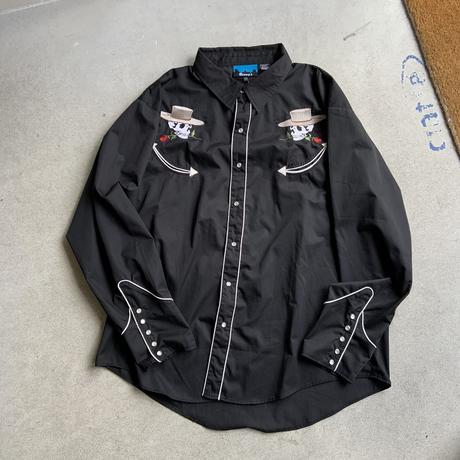 90 big size western shirt BLK