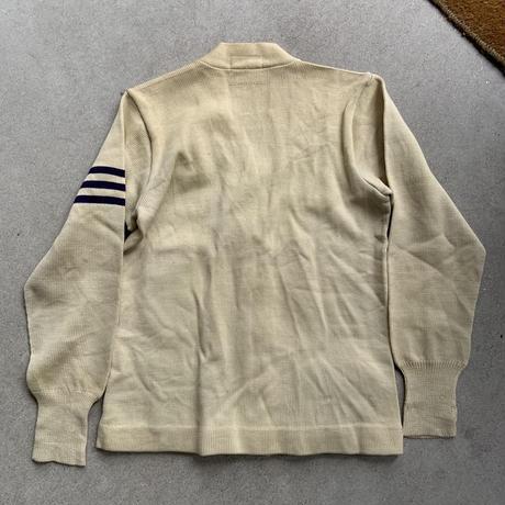 50s letterd knit cardigan WHT