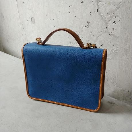 Old LANCEL 2Way Leather Bag BLU
