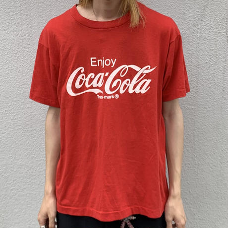 80s~ CocacolaPrint  tee RED
