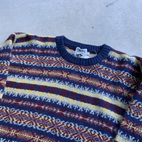 80s~ pattern knit dead stock YEL