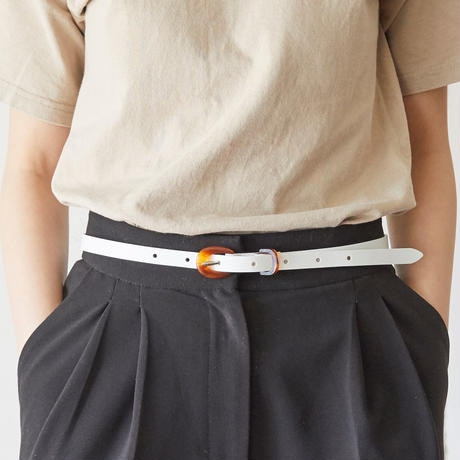 tov Bekko Buckle Leather Belt(White)