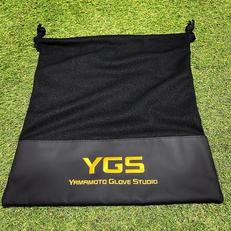 YGS ドローストリングバッグ マットブラック合皮加工 ラメゴールド刺繍