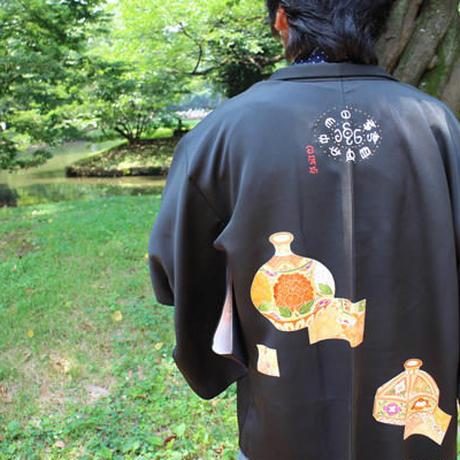 <TUTAE> Haori1002  black with orange pots