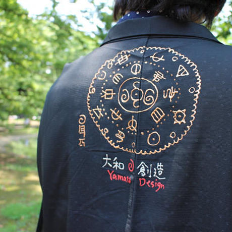 <TUTAE> Haori1012 (for summer) black with fans