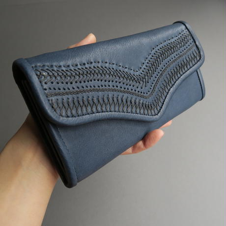 stitch long wallet (blue)