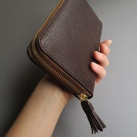 tassel zip long wallet (dark brown)