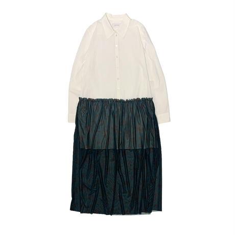【ya-211011-2】layered shirt one-piece / white