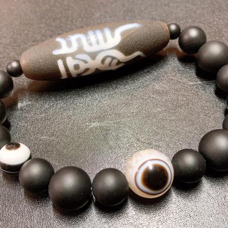 古代文字 龍と鳳凰の天珠と天眼水晶 ブレスレット