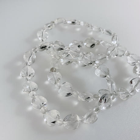 天然水晶 ハートカット(小) ブレスレット