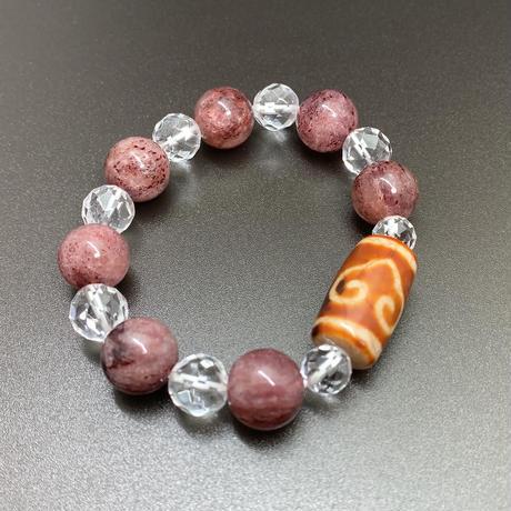 双心天珠とピンクエピドートインクォーツのブレスレット Ⅰ