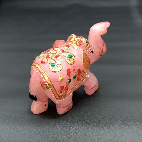 幸せを運ぶ神の遣いの象 ローズクォーツ ⑮