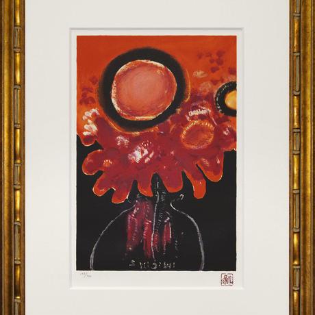 三岸節子「赤い花」リトグラフ