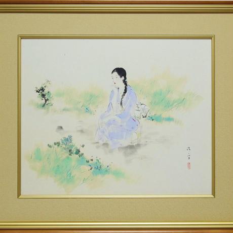 鏑木清方「朝涼」12号 共箱・東美鑑定書付
