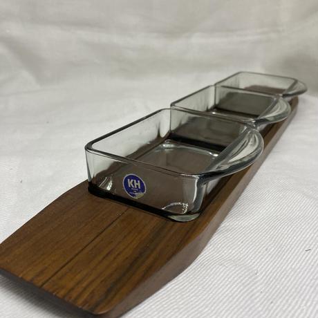 デンマーク製/チークトレイ&三連ガラスプレートセット