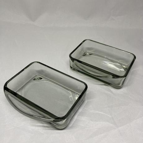 デンマーク製/チークトレイ&二連ガラスプレートセット