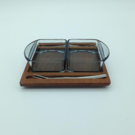 デンマーク製/チークトレイ&ガラスプレート&デザートフォークセット