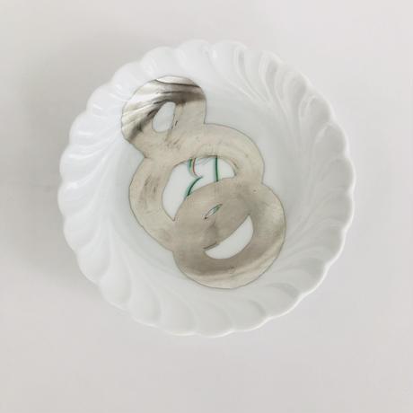 ジノリのオリーブ皿に銀彩B