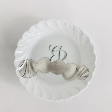 ジノリのオリーブ皿に銀彩A