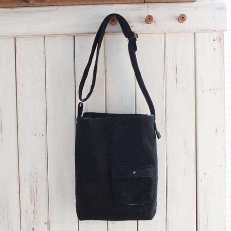 レトロな帆布のショルダーバッグ(ブラック)