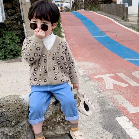 【2色展開】レオパード柄フェザーカーデ