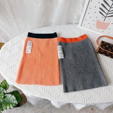 【2色展開】リブスカート
