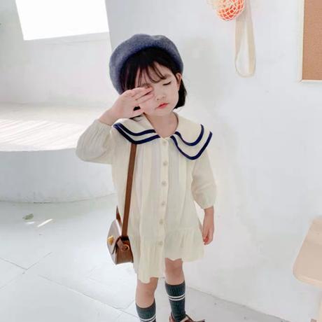 【2色展開】丸襟パイピングワンピ