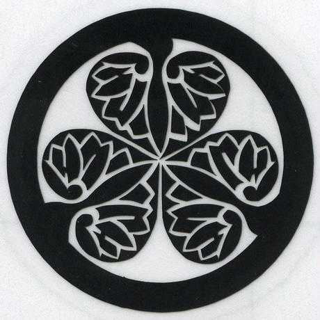 スコッチカル家紋シール 徳川葵 黒  SCK-081 約35mm