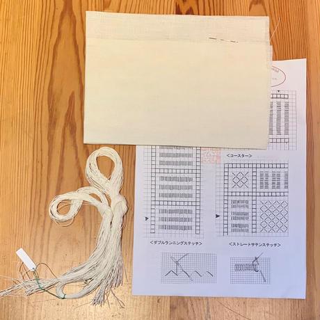 白糸刺繍「モンステラの窓飾り」【刺繍キット】