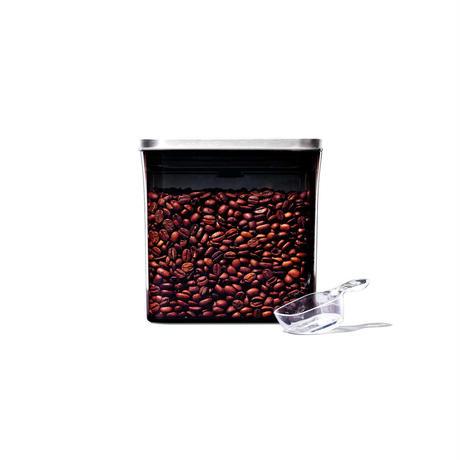 【見せる収納!】OXOステンレスポップコンテナ「コーヒー&ティーポップコンテナ レクタングル(ショート)コーヒースクープ付
