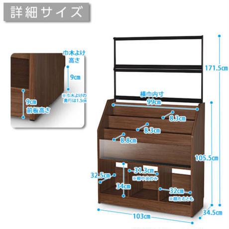 レコードラック (木目ダーク/約420枚収納)