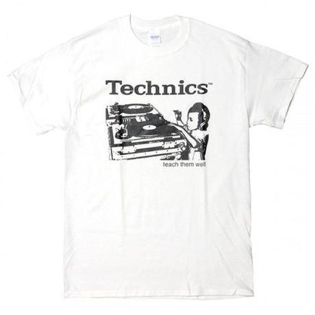 テクニクスtシャツ TECHNICS TURNTABLE WHITE テクニクスターンテーブル ロゴt tee dj ロックtシャツ バンドtシャツ