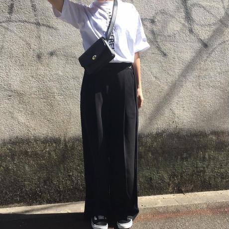 long belt wide pants