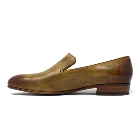 slip-on / round toe / leather sole / khaki