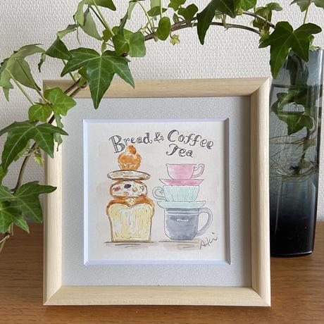 15cm角『Bread&Coffee・Tea』水彩原画(額付き)