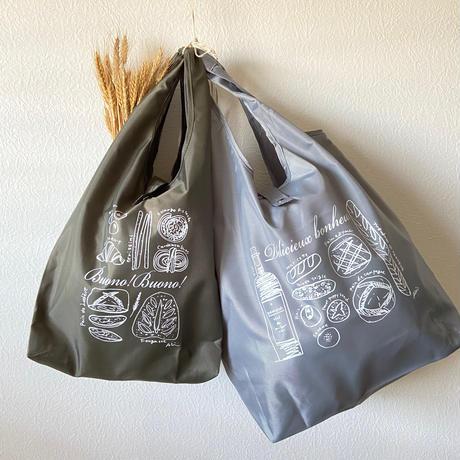 【2個セット】パン柄*エコバック(折りたためる)グレー(L)&カーキ(M)
