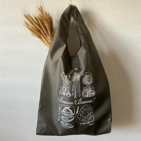 パン柄 *【エコバッグ】(折りたたみ)カーキ色(M)