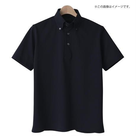 鎌倉シャツ×横浜GRITS ロゴ入りボタンダウン半袖ポロシャツ ネイビー