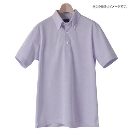 鎌倉シャツ×横浜GRITS ロゴ入りボタンダウン半袖ポロシャツ パープル