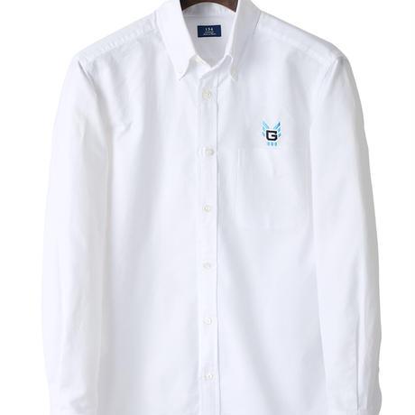 鎌倉シャツ×横浜GRITS ロゴ入りカジュアルボタンダウンシャツ