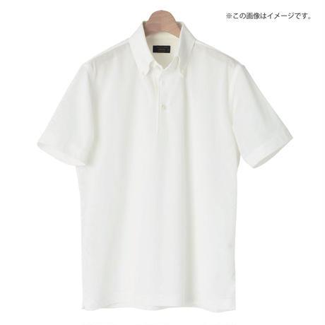 鎌倉シャツ×横浜GRITS ロゴ入りボタンダウン半袖ポロシャツ 白(オフホワイト)