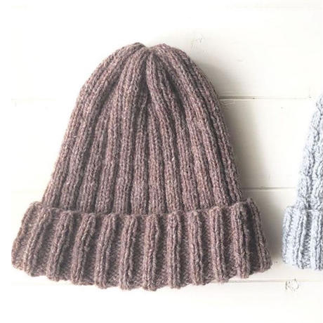 """plain knit cap""キット(PDFパターン付)"