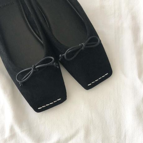 square  stitch ballet shoes (black)