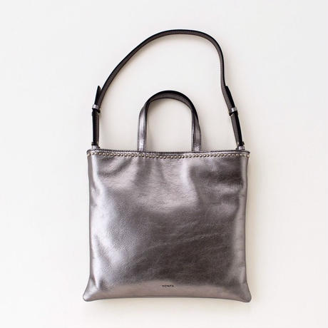 studs lether tote (silver)