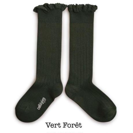 【Collégien】Joséphine - Lace-Trim Ribbed Knee-high Socks